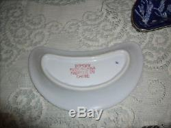 Bone Dishes Flow Blue & White Silver Overlay Trim set 12 Bombay China Dinnerware