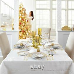 BrylaneHome Medici 40-Pc. Golden Ceramic Dinnerware Set, Gold White