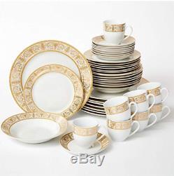 Brylanehome 40-Pc. Golden Ceramic Dinnerware Set (24K Gold White)