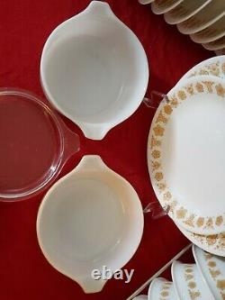 Butterfly Gold VTG Pyrex Corelle Dinnerware Lot Of 24 Pcs Good Condition