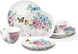 Butterfly Meadow Hydrangea 12-piece Dinnerware Set by Lenox Service for 4 NEW