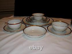 C A Limoges Ahrenfeldt 40pcs Four Place Settings 10pc Each Gold Band on White