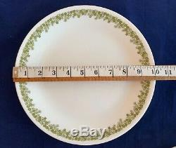CORELLE Corning CRAZY DAISY dinnerware service for 6 vintage Pyrex Green White
