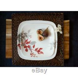 CORELLE Dinnerware Set Leaves Porcelain, Stackable and Chip Resistant (16-Piece)