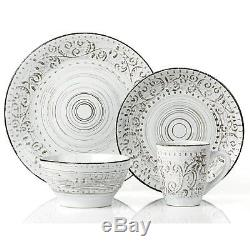 Casual Dinnerware Sets Dishes Service For 4 Everyday Rustic Distressed White New