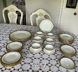 Cauldon England-dinnerware Set-antique Porcelain Est 1774-g0ld Trim- Beautiful