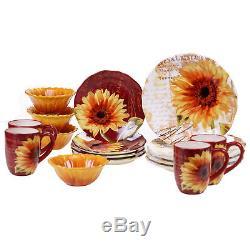 Certified International Paris Sunflower 16 Piece Dinnerware Set, Service for 4
