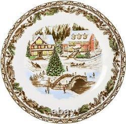 Christmas Dinnerware Set Porcelain Holiday Plates Mugs Dishes Vintage White 16