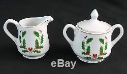 Christmas Holly Dinnerware Set Fine China 29pc Holiday Plates Cups Creamer Sugar