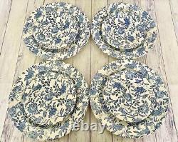 Churchill Blue Peony Dinnerware Service For Four 20 Piece Set Blue White Chintz