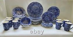 Churchill Staffordshire Blue Calico Dinnerware Set 51 Pieces