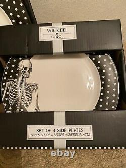 Ciroa Wicked HALLOWEEN SKELETON 4- DINNER PLATES & 4-SIDE SALAD PLATS. SET of 8