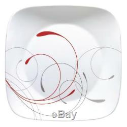 Corelle 16-Piece Square Dinnerware Set White Glass Red And Grey Scroll Patterns