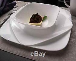 Corelle 16-Piece Square Vitrelle Dinnerware Set Serving Dishes for 4, Pure White