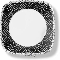 Corelle 18-piece Bold Black & White Square Dinnerware Set Service for 6 NEW