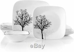 Corelle 18-piece Square Shadow Branches Dinnerware Set Service for 6 NEW