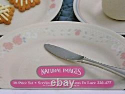 Corelle 20 Piece Livingware Dinnerware Set 220-477 Bloosoms in Lace Service 4