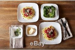 Corelle 30 Pc Dinnerware Set Square Dinner Plates Dish Service For 6 Vivid White