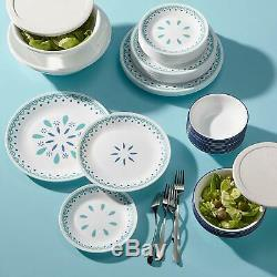 Corelle Azure & Teal Sky 78-piece Dinnerware Service for 12 + Serve Set NEW