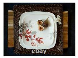 Corelle Boutique 16-Pc Kyoto Leaves Vitrelle Glass Dinnerware Set, Service For 4