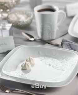 Corelle Boutique Cherish Embossed 16-Piece Square Dinnerware Set for 4 NEW