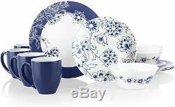 Corelle Boutique Indigo 16-Piece Dinnerware Set Service for 4 NEW