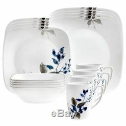 Corelle Boutique Kyoto Night 16-Pc Square Dinnerware Set for 4 NEW