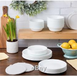 Corelle Classic White Dinnerware Set Round Plates Bowls 66-Piece Service for 12