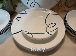 Corelle Classics LIA 24 Pc Dinnerware Set White with Blue Swirls Plates Bowls