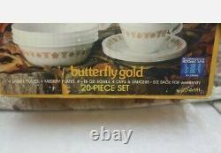 Corelle Corning GOLDEN BUTTERFLY 24 Piece Dinnerware Set VINTAGE NEW IN BOX