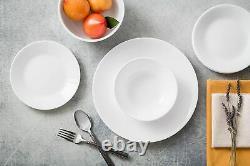 Corelle Dinnerware Set for 6 (18Pcs) Chip Resistant Winter Frost White Dinnerwar