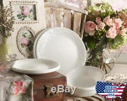 Corelle Embossed Bella Faenza 16-Piece Dinnerware Set, Service for 4, White, New