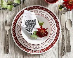 Corelle Livingware Dinnerware Set 78 Piece Crimson Trellis White Glass Kitchen