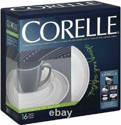 Corelle Livingware Mystic Gray Vitrelle Glass 16-Pc Dinnerware Set Service for 4