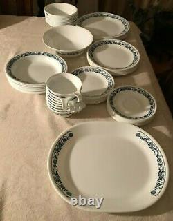 Corelle Old Town Blue Onion Dinnerware Service for 8 + Platter 57 Pc Free Ship