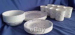 Corelle Provincial Blue Dinnerware Set Service for 8 Lot/ 32 Plates Bowls Cups