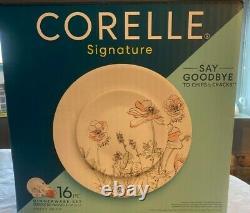 Corelle Signature Poppy Print 16-pc Dinnerware. Plates, Bowls, Mugs. BRAND NEW