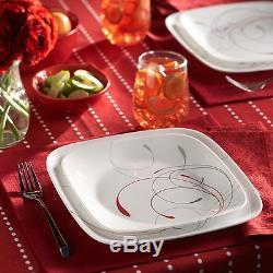 Corelle Splendor 16-Piece Vitrelle Dinnerware Set Square Dinner Dishes Set for 4