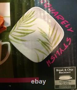 Corelle Square Bamboo Leaf 16 piece Dinnerware Set Dishes New NIB