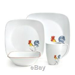 Corelle Square Dishes 16 Piece Dinnerware Set Country Rooster Dawn Service For 4