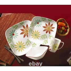 Corelle Square Happy Days Dinnerware Set Service For 4 Durable New, 16-Piece
