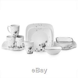 Corelle Squares Fleurs Du Soir 16-Piece Dinnerware Set Service for 4 NEW