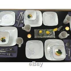 Corelle Squares Jacaranda 16-Piece Dinnerware Set Service for 4 NEW