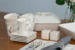 Cream White Nova Square Banquet 45-Pcs Dinnerware Set Porcelain Dishwasher-Safe