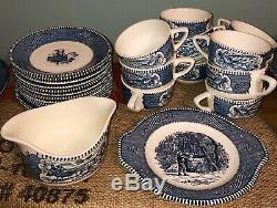 Currier and Ives Vintage Blue/White Harvest Collection Dinnerware set-67 Pieces
