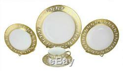 (D) Royalty Porcelain Greek Key White with Gold border Dinnerware Set 40-pc