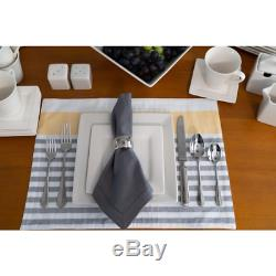 DINNERWARE SET 45 PIECE Plates Dishes Dinner Service For 6 White Square Kitchen