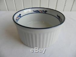 Dansk Bistro Marib Porcelain Dinnerware Set, 43 pcs, White and Blue, Red Berries