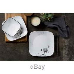 Dinnerware Service Set 16 Piece Glass Black Gray Floral Dishes Plates Bowls Mug
