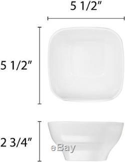 Dinnerware Set 12-pcs Square Shape Modern Melamine White Dinner Serving Supplies